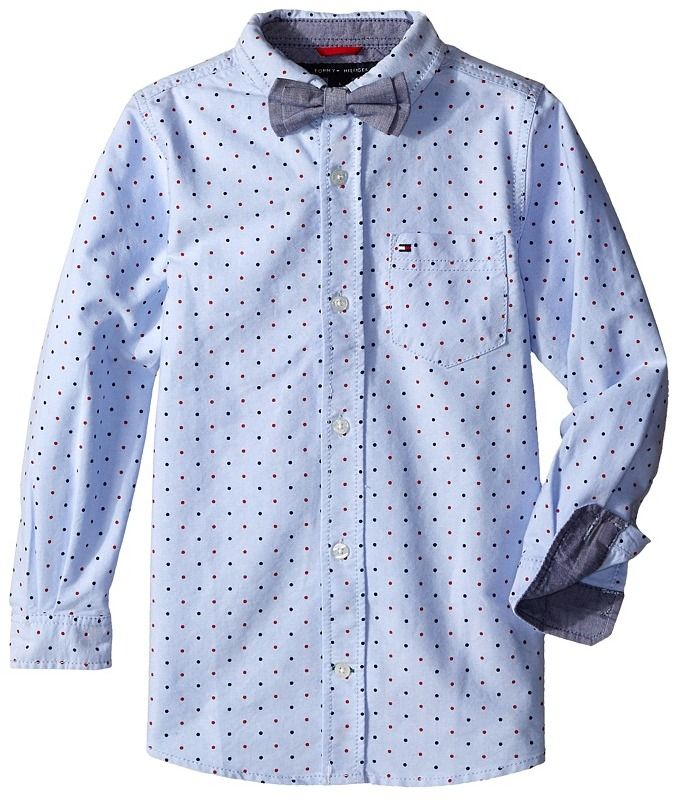 Tommy Hilfiger Boys' Big' Short Sleeve Dress Shirt with Bow Tie