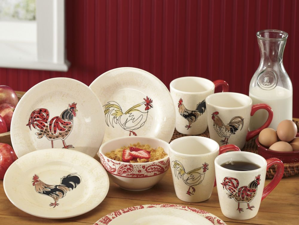 16-piece Paisley Rooster Dinnerware Set from Through the Country Door® & 16-piece Paisley Rooster Dinnerware Set from Through the Country ...