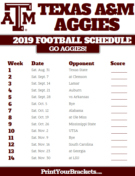 2020 Tamu Football Schedule Pinterest