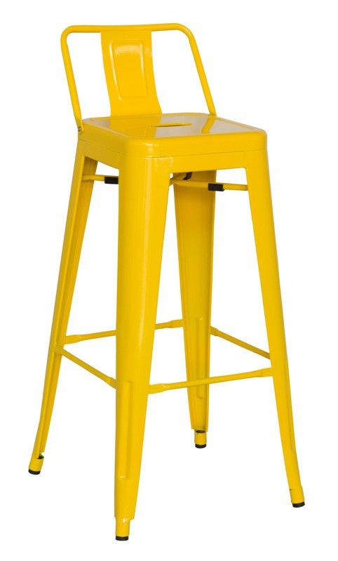 Chintaly Galvanized Steel Bar Stool Yellow 8030 Bs Ylw Set Of 4