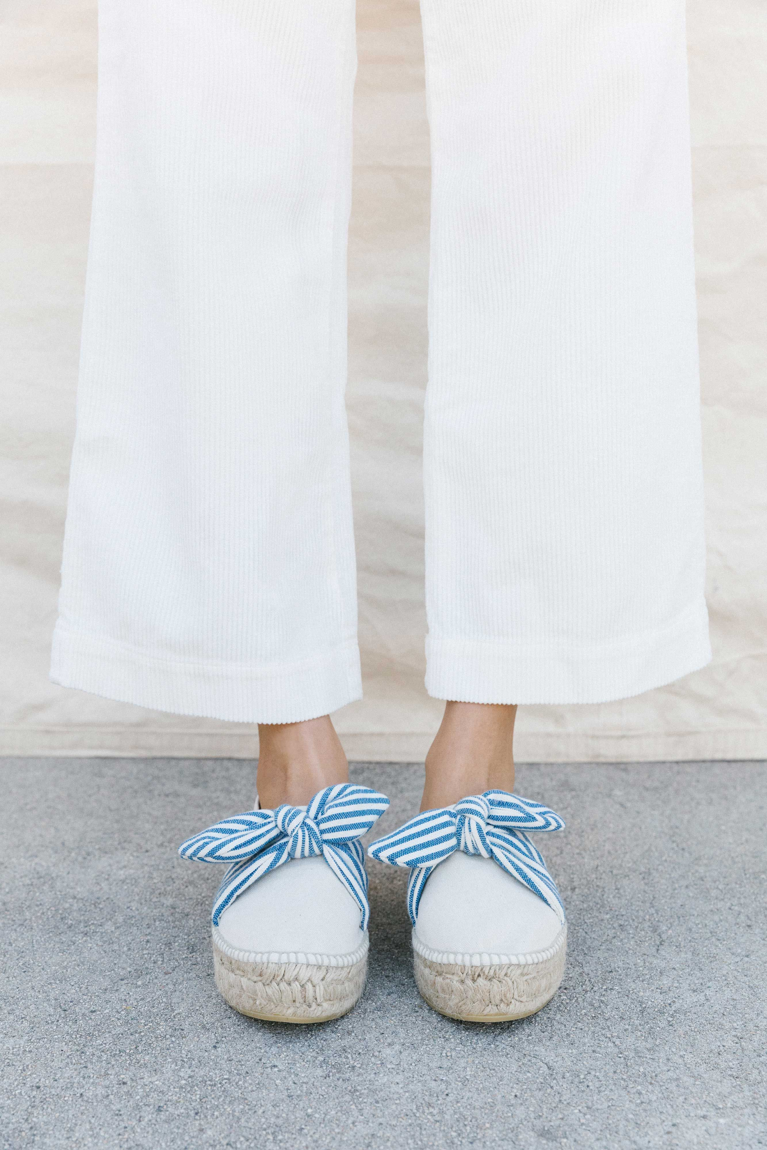 4d98f5848222 Rowan Slip on Platform Espadrille with Fabric Tie in Canvas with Blue Cream  Striped Fabric Bow