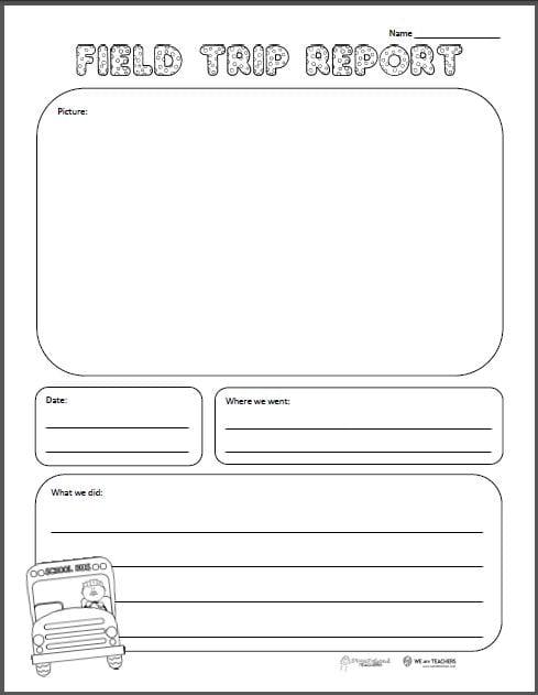 Photo of Free Printable of the Week: Field Trip Report (Grades K-6) – WeAreTeachers