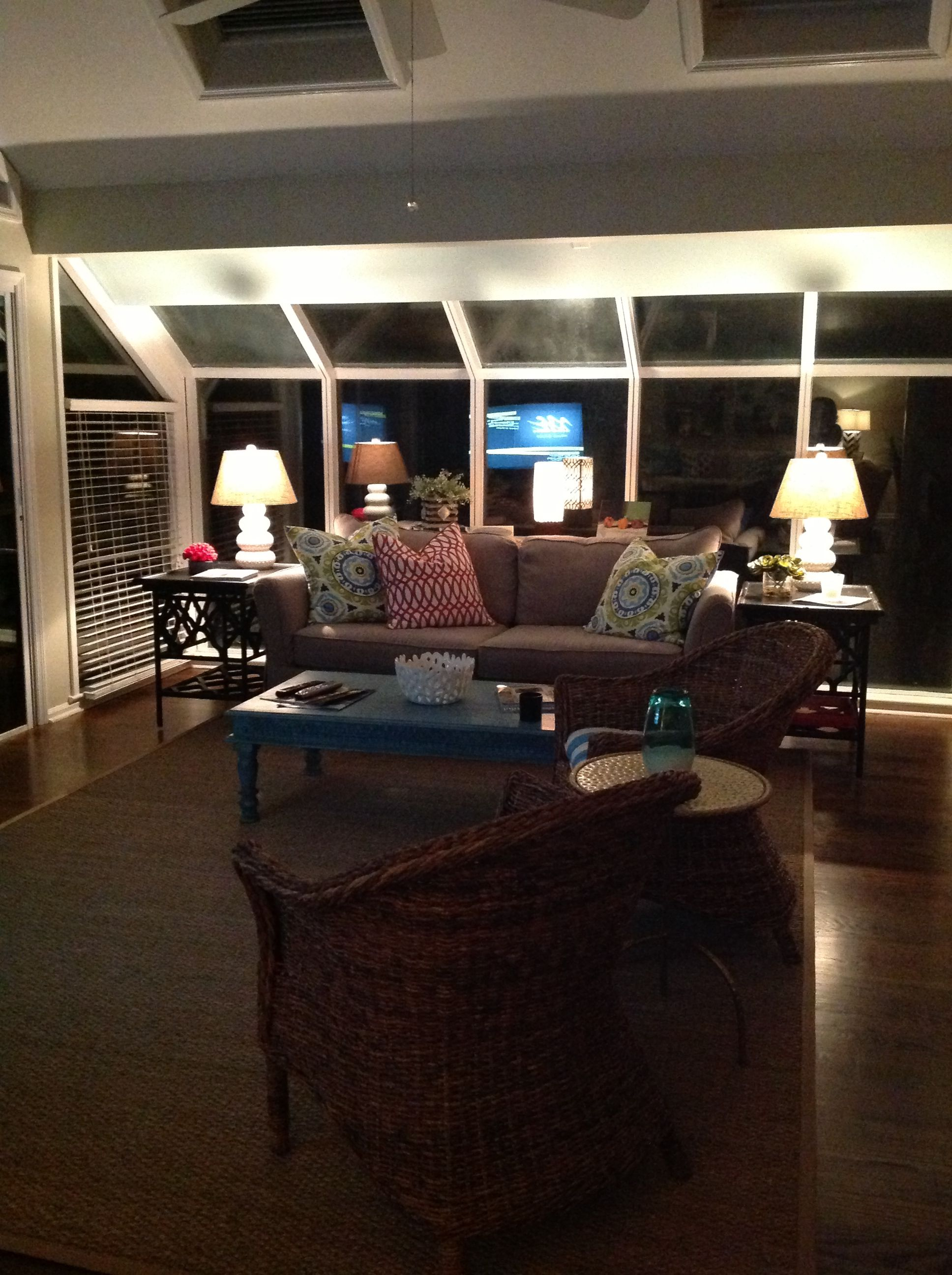 Family Room At Night Family Room Home Home Decor