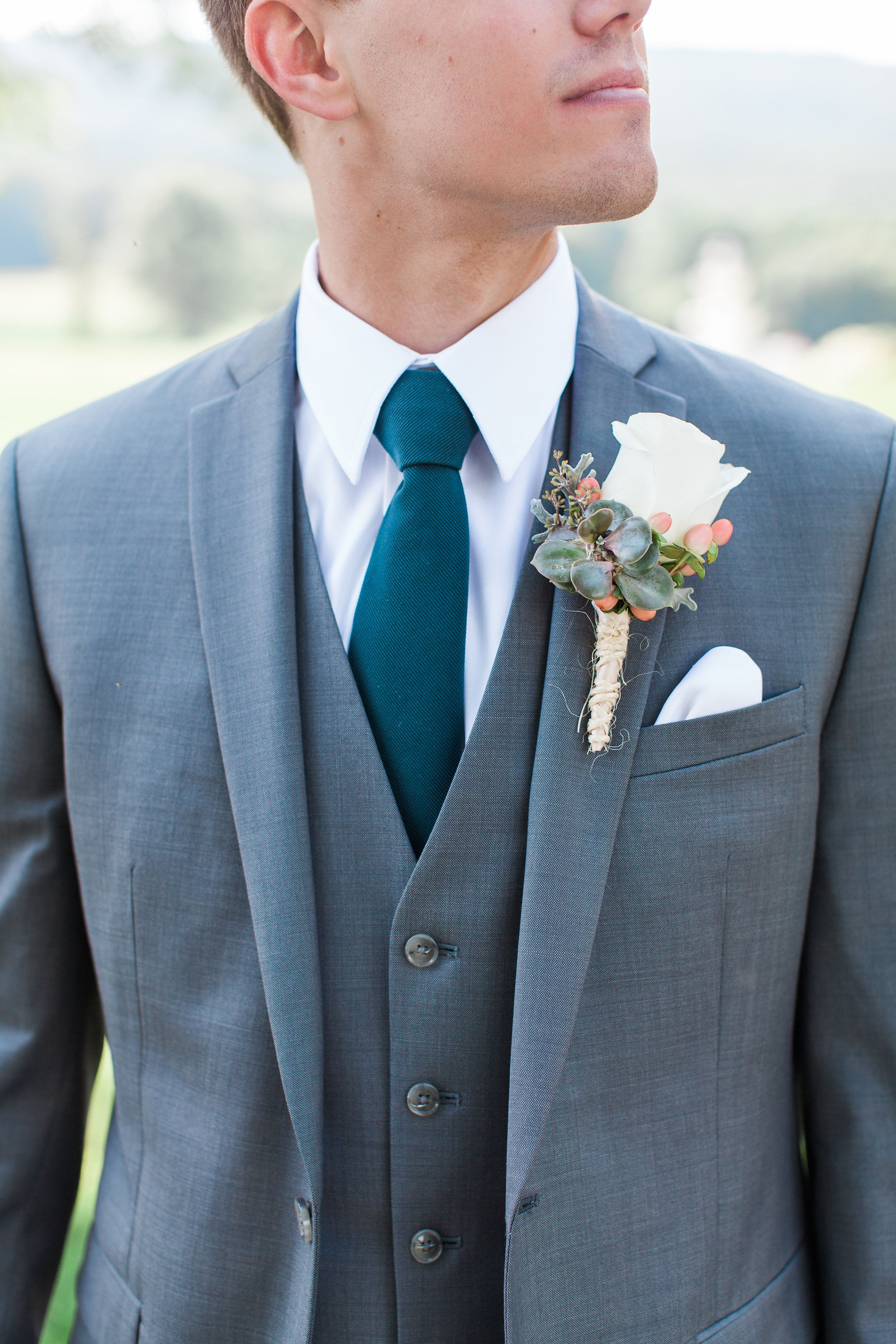 Spring groom outfit idea - gray suit with teal necktie + white ...