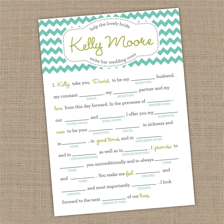 Wedding Vow Mad Libs Printable: Printable Custom Bridal Shower Wedding Vows Mad Lib