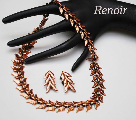 Renoir Copper Necklace and Earring set by serendipitytreasure