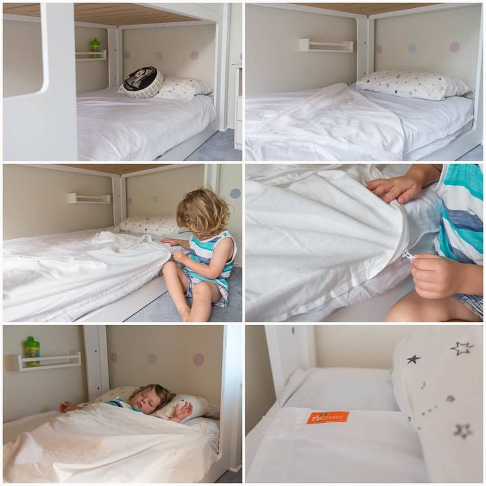Why Use Ordinary Sheets When Zip Covers You So Well Keep Your Kids Covered All Night With