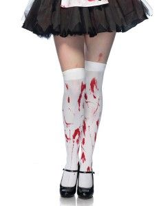 NEW WOMENS OVERKNEE FANCY DRESS HALLOWEEN BLOOD STAINED NURSE SOCKS SIZE PARTY