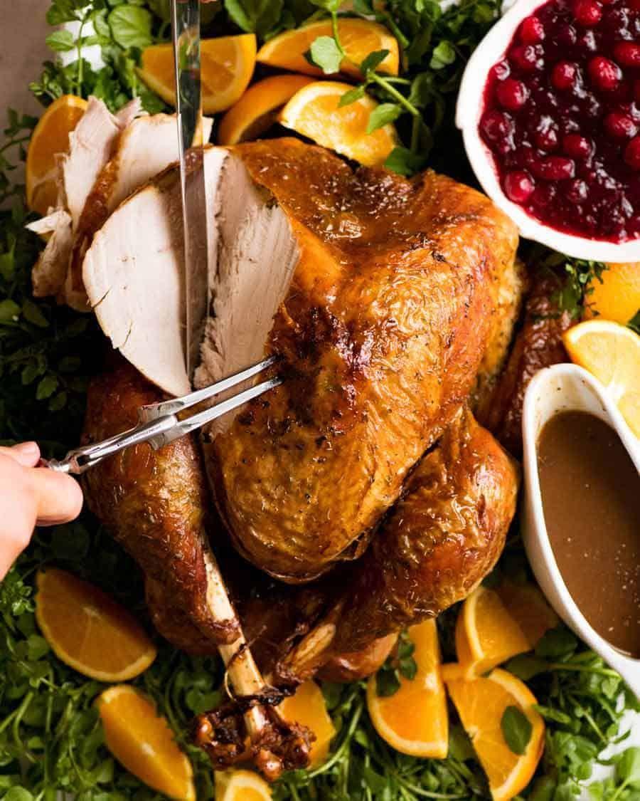 Juicy Roast Turkey   Recipe   Roasted turkey, Recipetin ...
