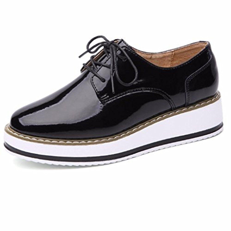 a9fe83fd6b06b2 Moonwalker Chaussures Femme à Lacets en Cuir Derbies Oxfords Compensées 2018