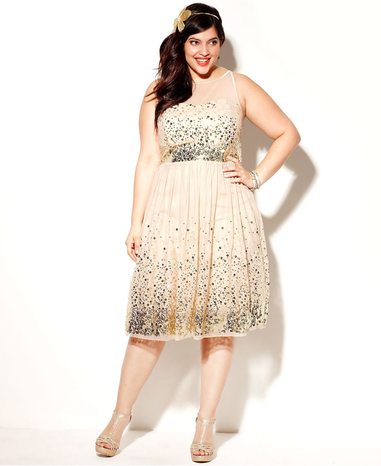 ruby rox plus size dress, sleeveless sequin illusion - plus size