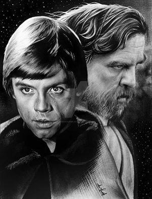luke skywalker then and now. | star wars drawings, star wars artwork, star wars nerd