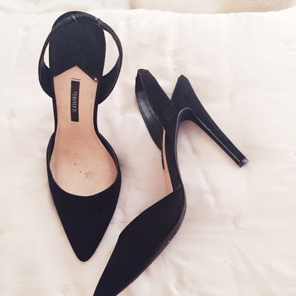 Suede Slingback Classics Black Suede Slingback Classic Pumps. Worn once. Forever 21 Shoes
