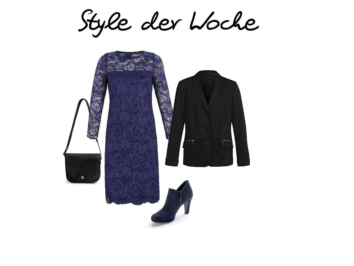 Eine Idee für die festlichen Tage: Das Spitzenkleid von Anna Scholz kombiniert mit einem Blazer.