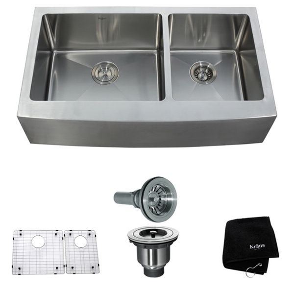 Kraus 36 Inch Farmhouse Apron Double Bowl Steel Kitchen Sink   Overstock™  Shopping