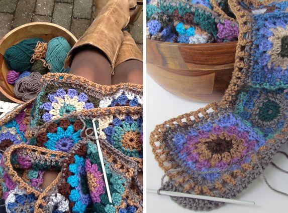 crochet motif scarf