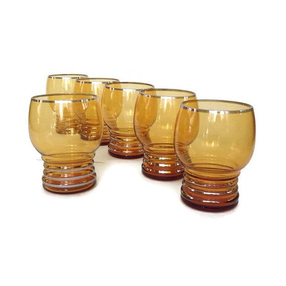 Adorable Amber and Gold Tall Wine Glasses Retro Vintage 1950/'s Glasses set of Six from an elegant era