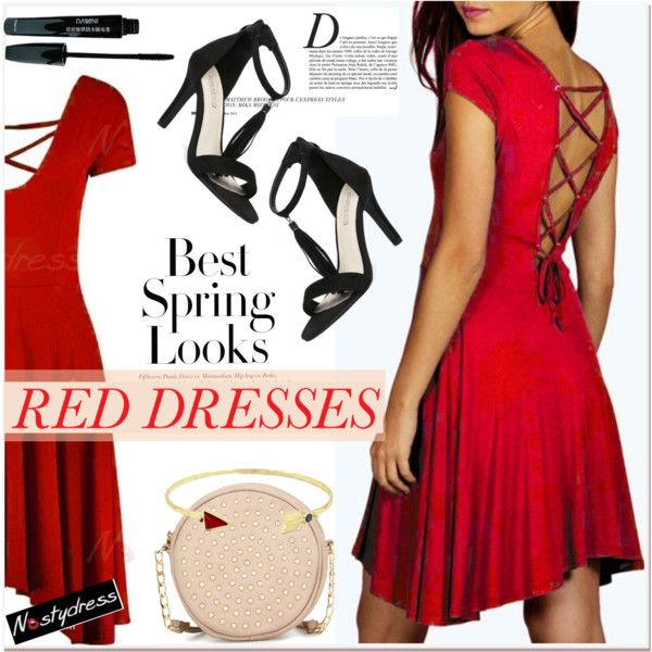 Hot Red Dress by paculi on Polyvore featuring moda, Neiman Marcus, H&M, Anja, women's clothing, women's fashion, women, female, woman and misses