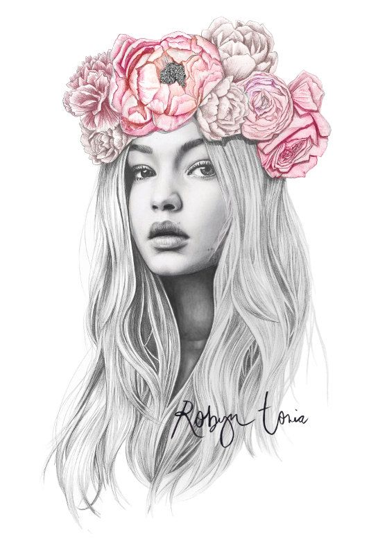 Gigi Hadid pink flower crown illustration / wall art and home | Etsy