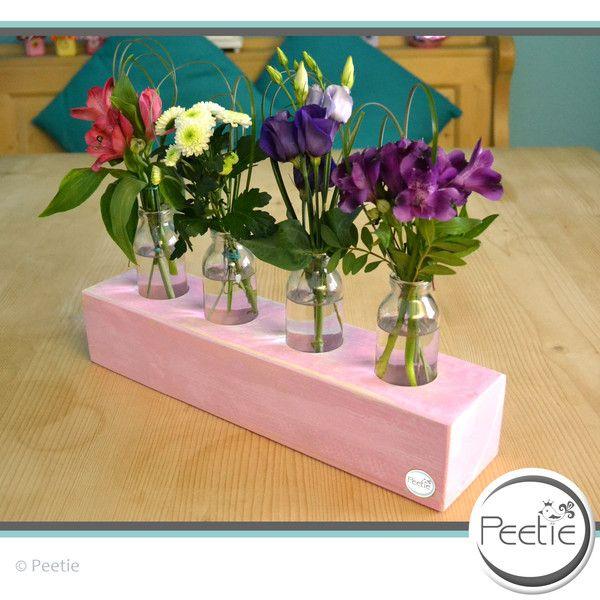 Vasen - Shabby 4er Blumenvase rosa Holz Vasenhalter Vasen - ein Designerstück von Peetie-Holzdesign bei DaWanda