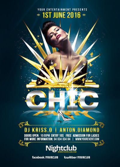 Gold Chic Party Psd Flyer Templates by RomeCreation on