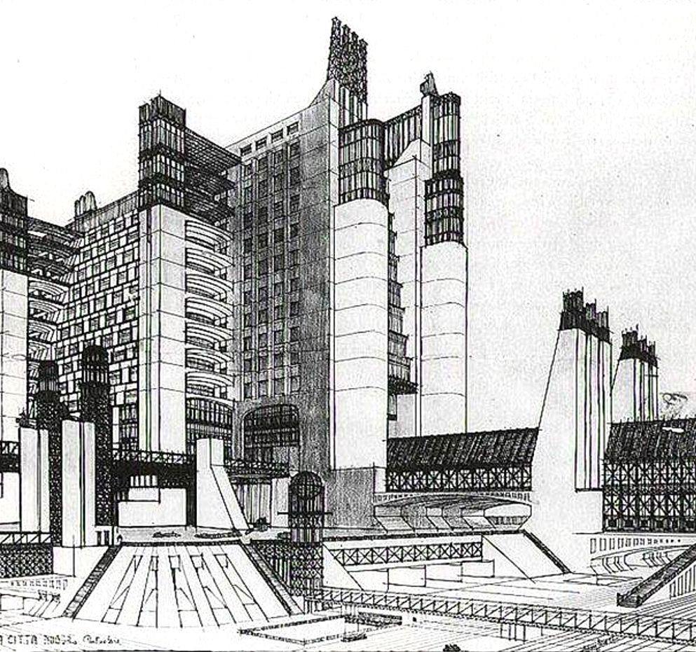 Sant'Elia. Drawings for a futurist Città Nuova (1914). The ...