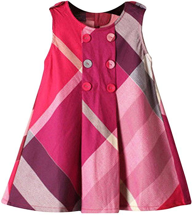 81a36739 Amazon.com: Yinggeli Little Baby Girls Long Sleeve Plaid Checked Princess  Dress (2-3 Years, A-Rose Red): Clothing