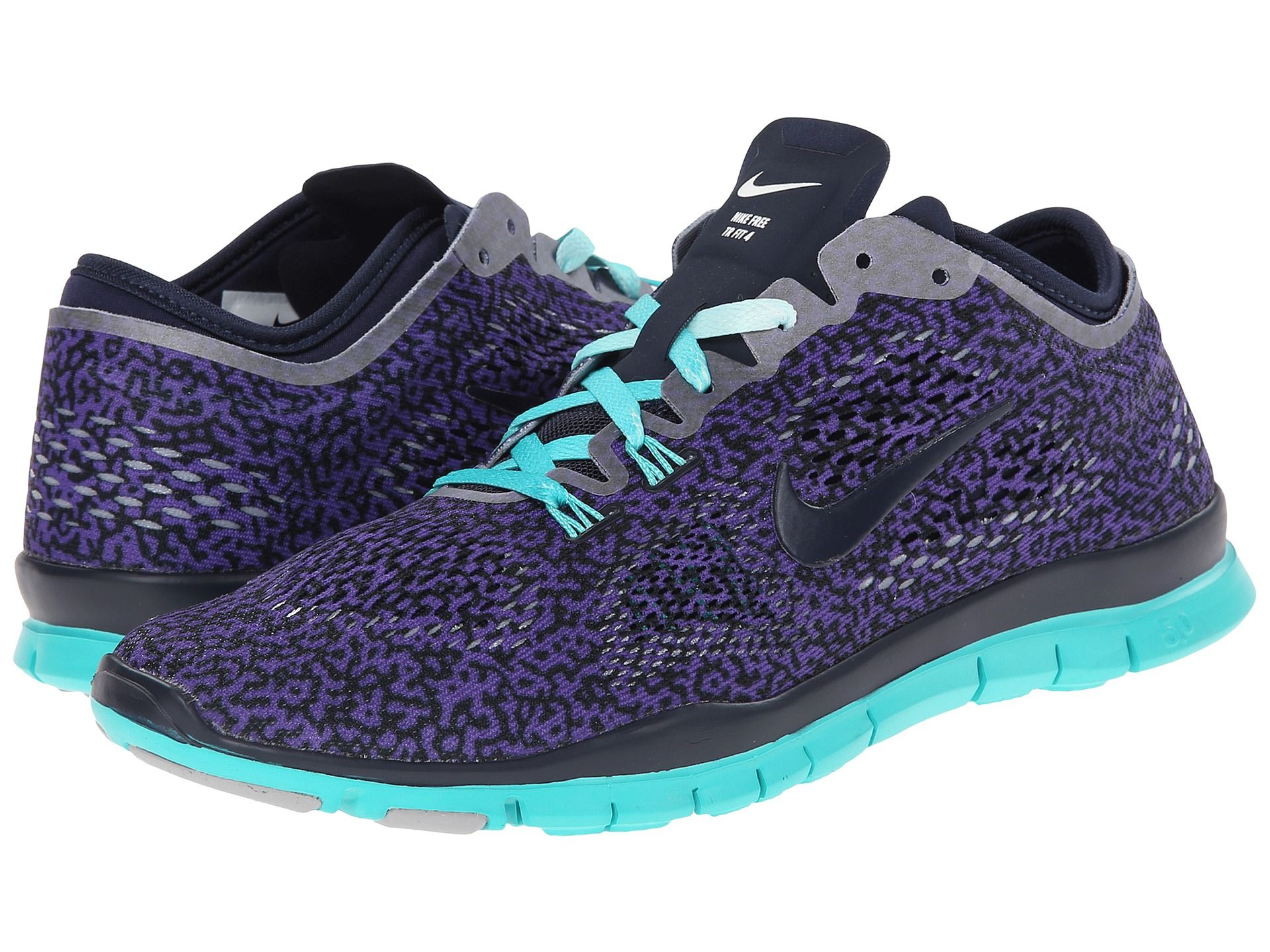 30f65758a59a Nike Free 5 0 TR Fit 4 Print Women s Training Running Shoes Purple Black  Gray Bl