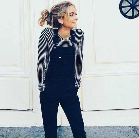 c2c7cc608136 long sleeve striped shirt + black overalls