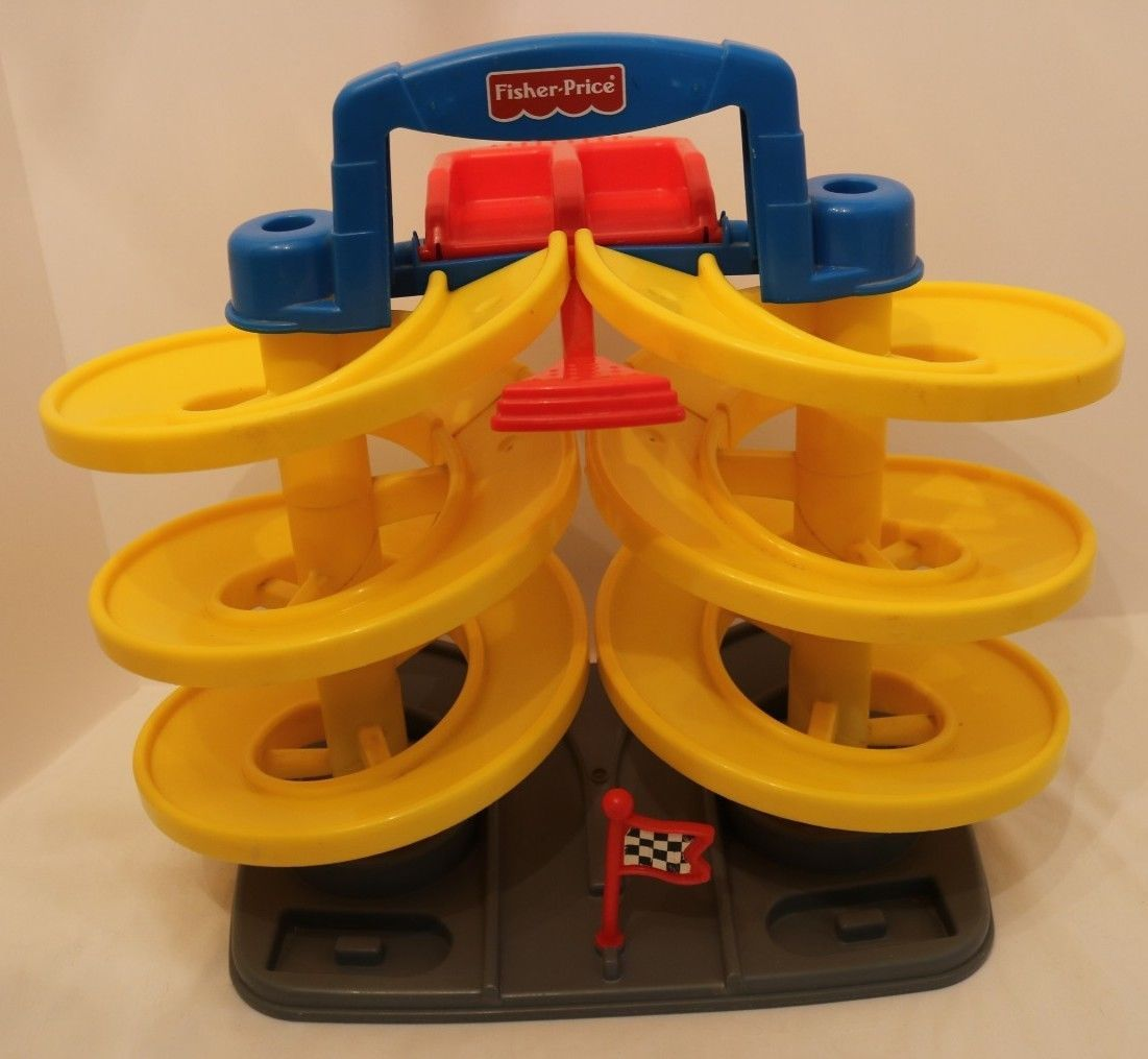 Fisher Price 1997 Spiral Speedway Double Car Race Track Ramp Yellow Blue Red Car Ramps Race Track Cool Toys