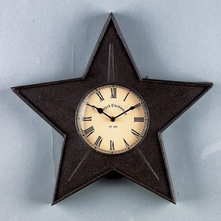 Black Star Metal Clock Looks Great In The Kitchen In The Office Or At The Cabin Metal Clock Wall Clock Metal Wall Clock