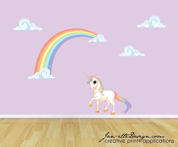 pastel rainbow and unicorn wall decal, rainbow unicorn wall sticker