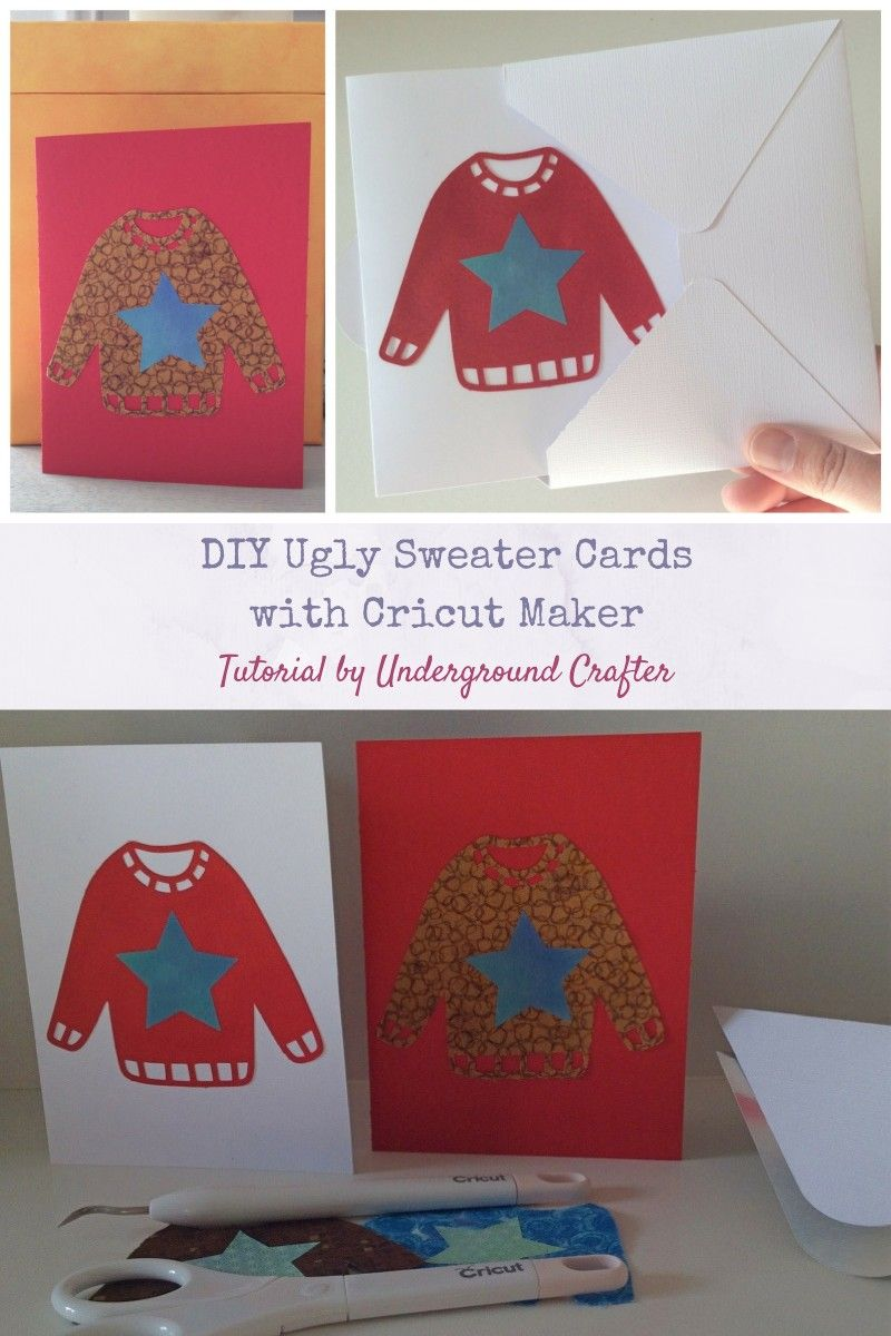 0c71bda0e DIY Ugly Sweater Cards with Cricut Maker by Underground Crafter | Do you  love all things #uglysweater? Make these cute ugly sweater cards with your  Cricut ...