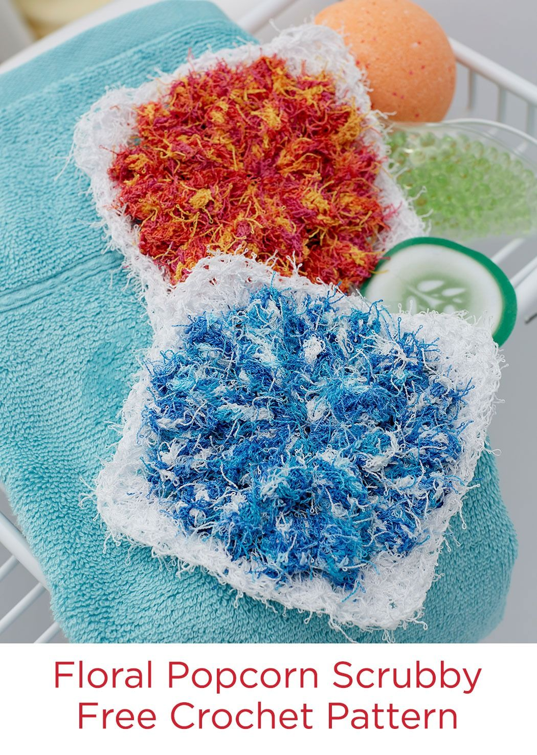 Floral Popcorn Scrubby Free Crochet Pattern In Red Heart Scrubby