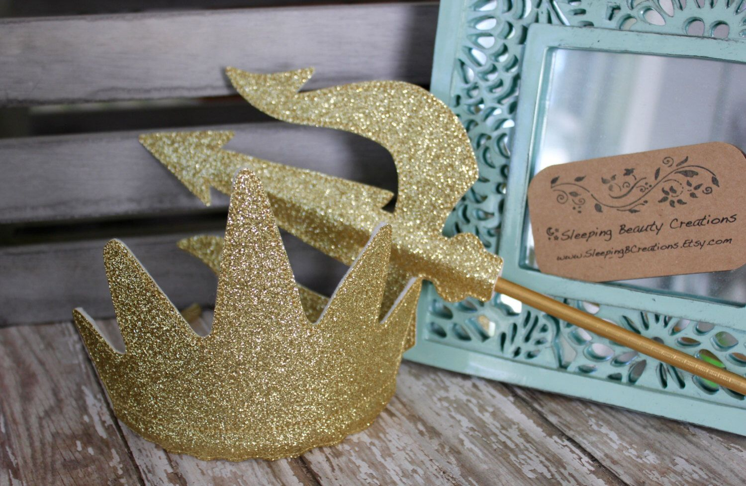 Ursula Inspired Crown And Trident Set Glitter And Felt Dress Up