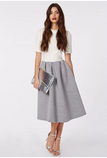 7b50d1b904de Breanna Ponte Midi Skater Dress Cream Grey - Dresses - Skater Dresses -  Missguided