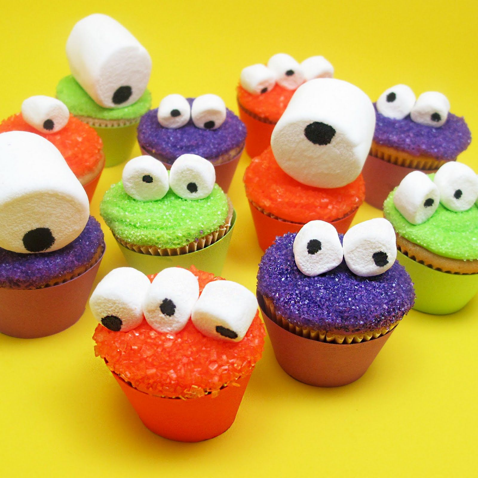 halloween googly eyed monster mini cupcakes for celebrations