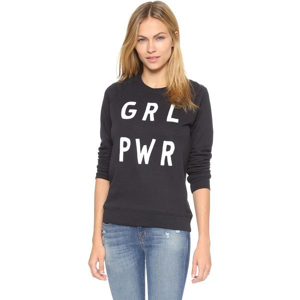 Zoe Karssen GRL PWR Pullover ($130) ❤ liked on Polyvore featuring tops, hoodies, sweatshirts, pirate black, slouchy sweatshirt, long sweatshirt, sweat shirts, quilted sweatshirt and black pullover