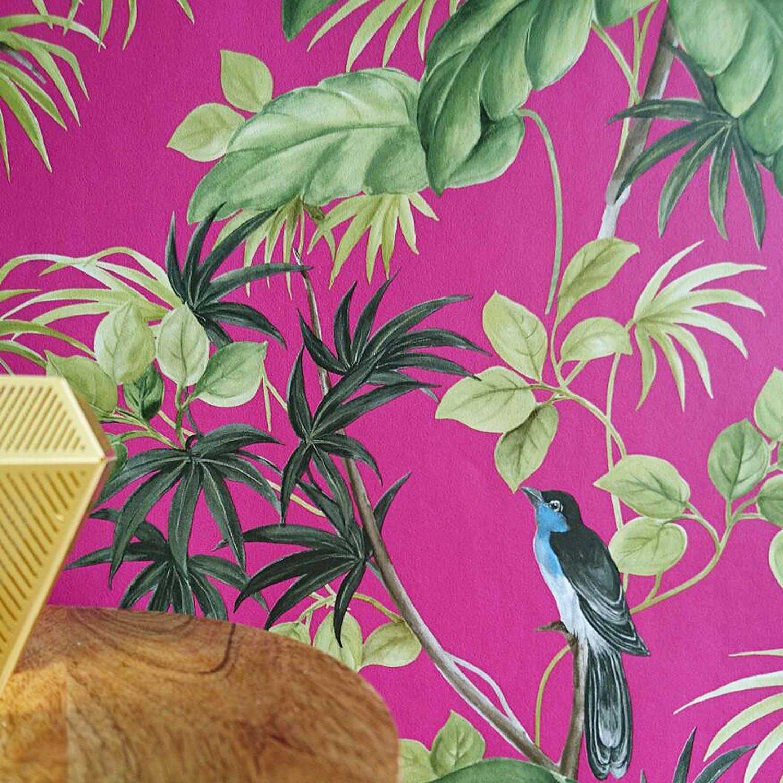 Birds On Palms Wallpaper Cerise Pink Green Black Blue