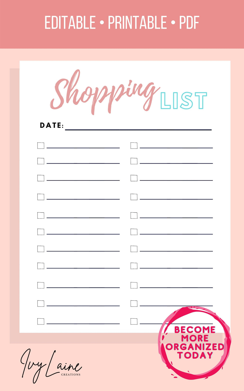 Editable Shopping ListChecklistBe organizedEdit on Etsy
