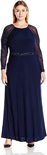 Marina Womens Plus-Size Gown with Beaded Strips On Waistband and Back Key Hole