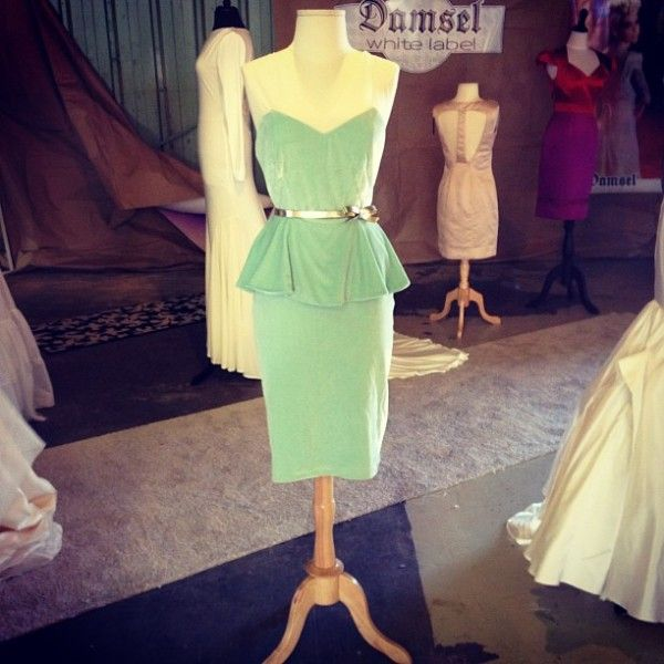 to buy 50% price new release Mint green velvet dress | Peplum green bridesmaid dress