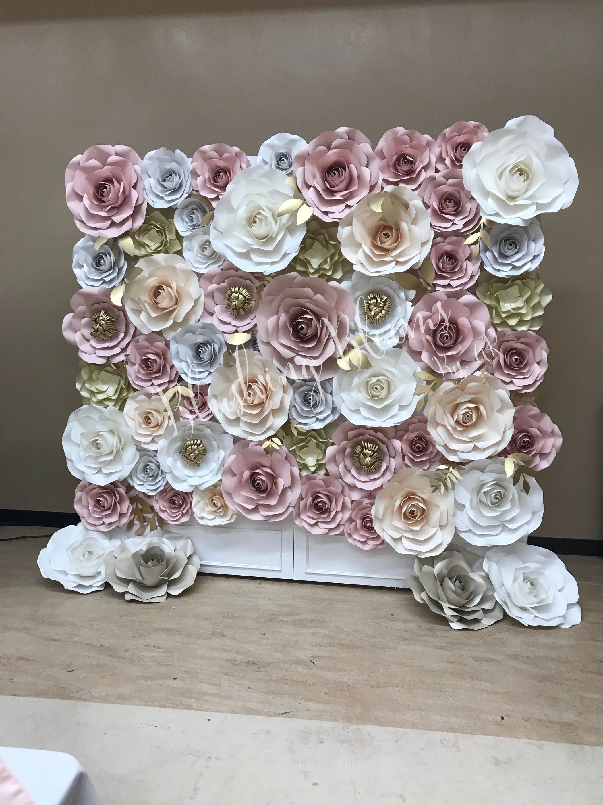 Quinceanera Paper Flower Wall Photo Wall Blush Pink Gold White