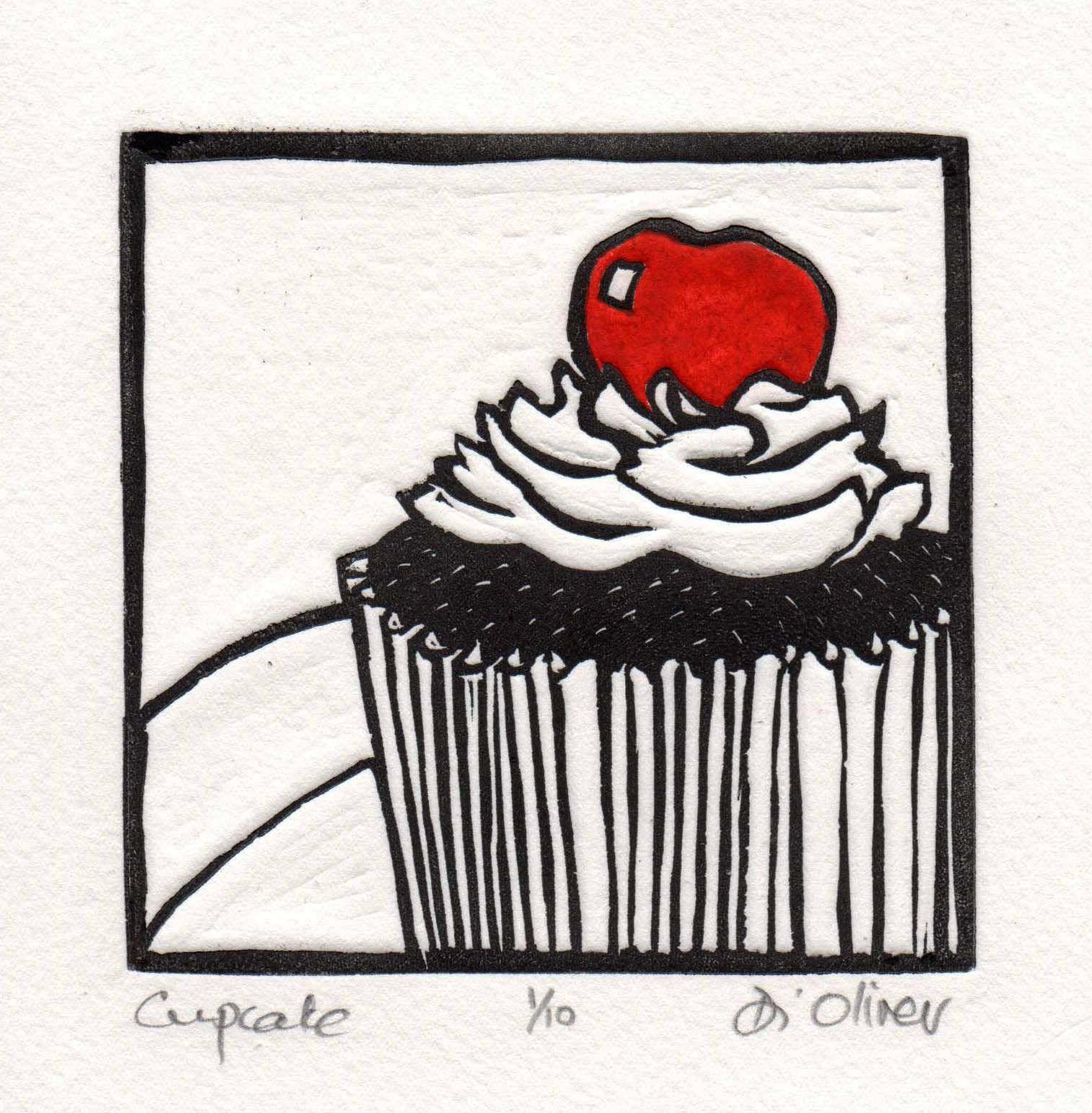 Cupcake Linocut