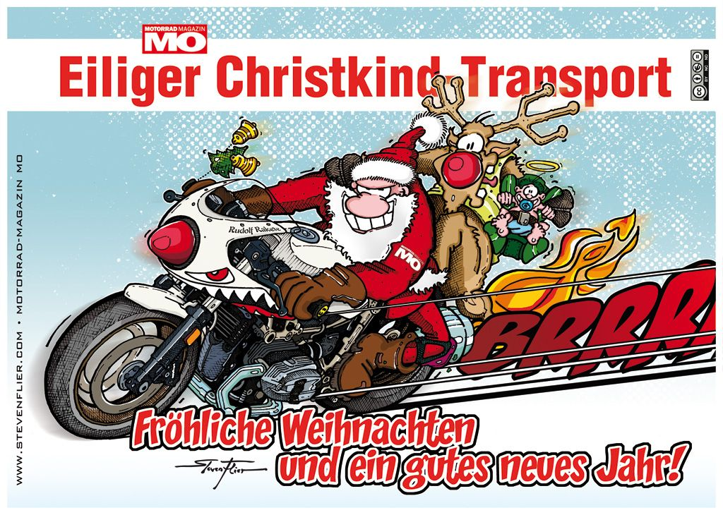 weihnachten christmas illustration comic motorrad. Black Bedroom Furniture Sets. Home Design Ideas