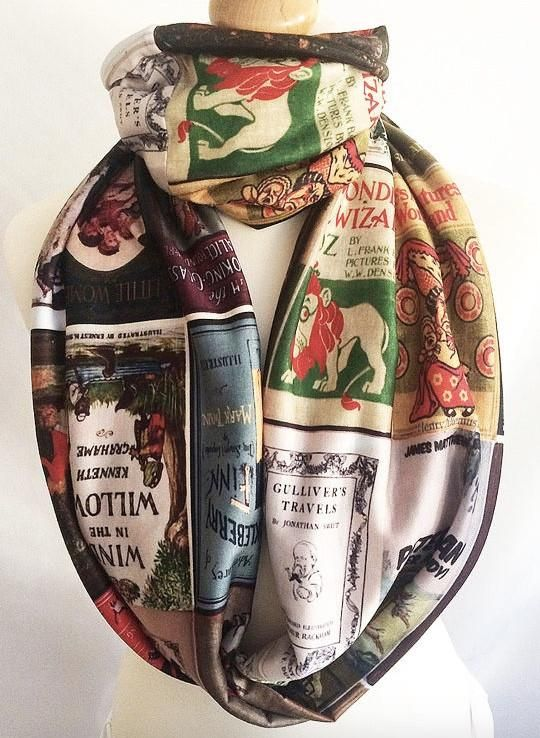 Literary Gifts for book lovers, Women Literary Scarves UK,Book Covers Scarf