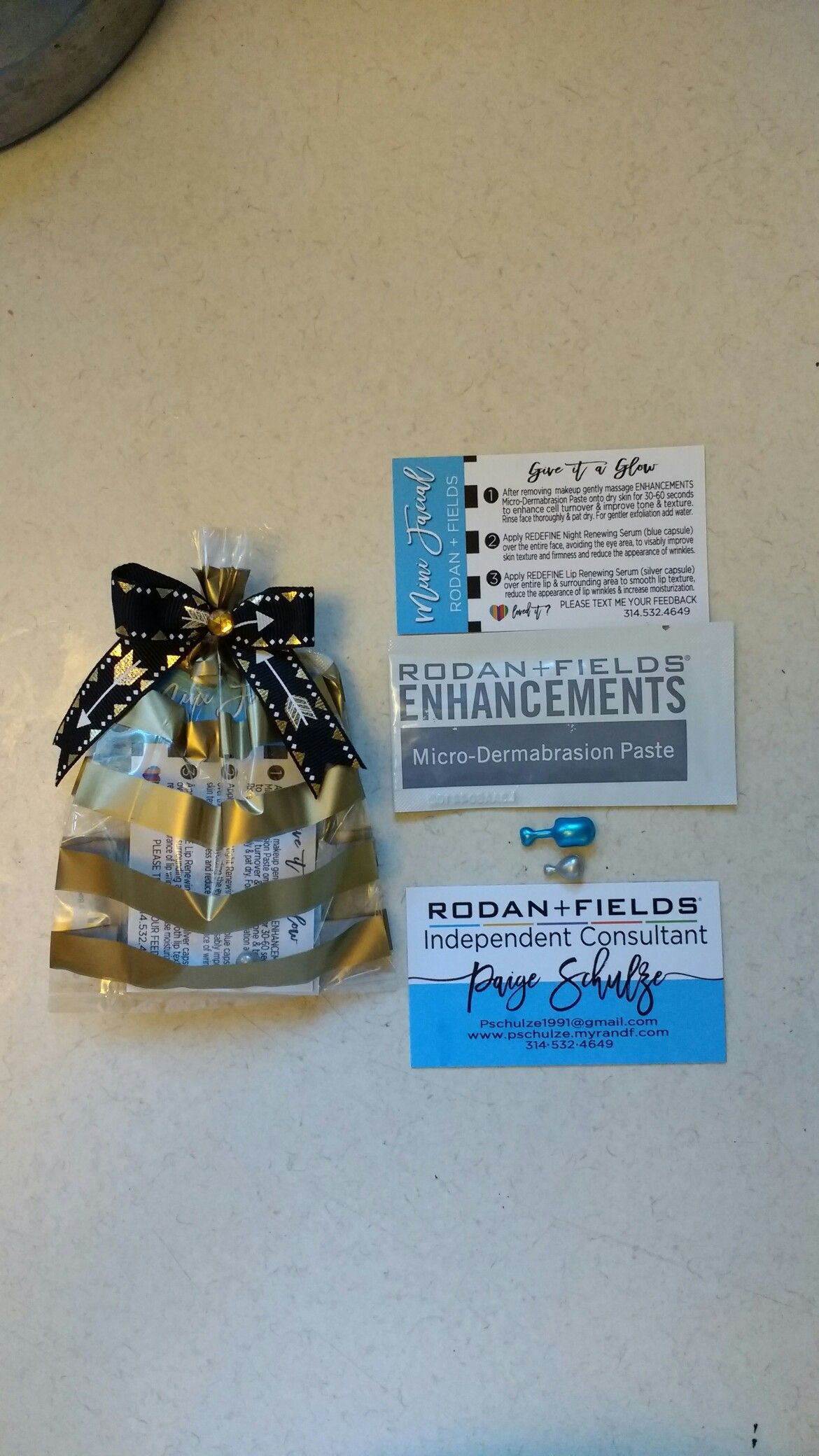 samples of rodan and fields products a direction business card