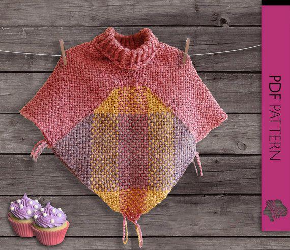 Pastel Cupcakes Baby Girl poncho, weaving loom PDF pattern, square ...