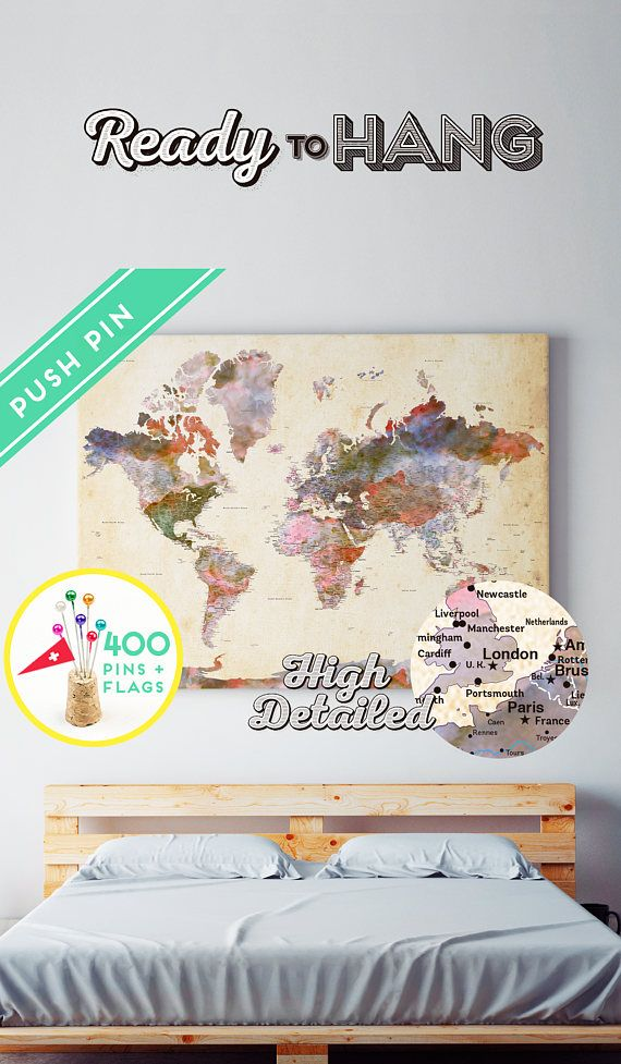 Canvas push pin world map terra vintage colors ready to hang canvas push pin world map terra vintage colors ready to hang high detailed 240 pins 198 world flag sticker pack included gumiabroncs Images