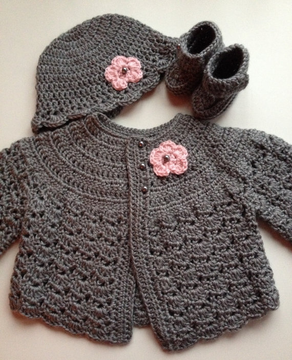 Crochet Baby Sweater Hat Booties Set Heather Grey 3-6 mo | Pinterest ...